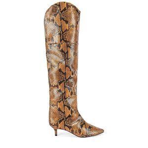 Schutz Kauanna Snake Embossed Point Toe Knee Boots